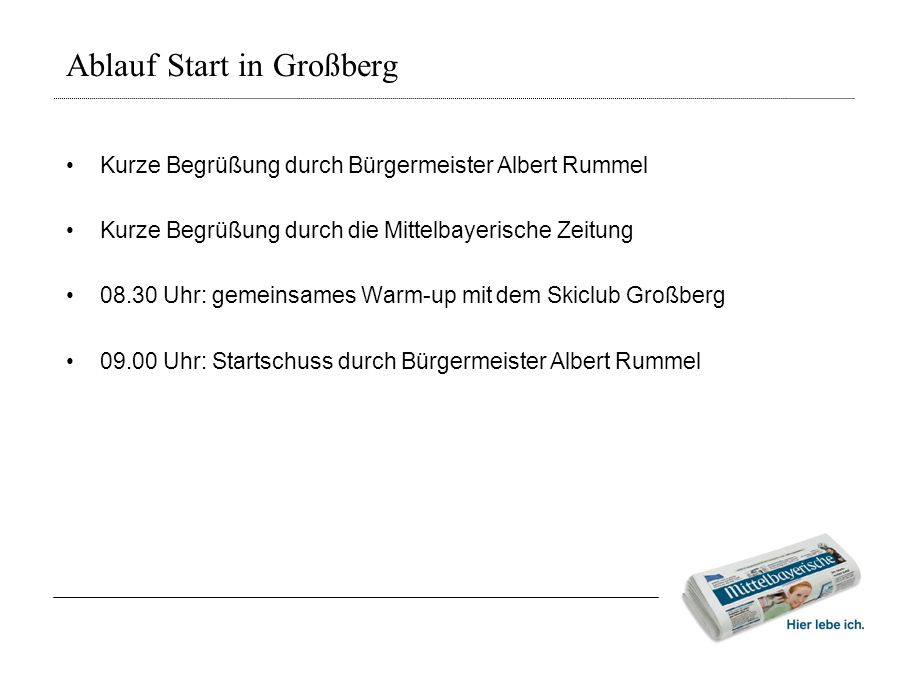 Ablauf Start in Großberg