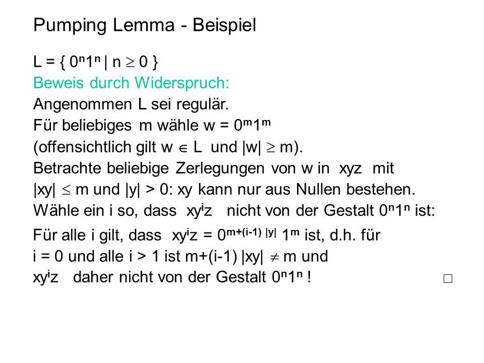 Pumping Lemma - Beispiel