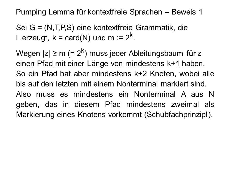 Pumping Lemma für kontextfreie Sprachen – Beweis 1