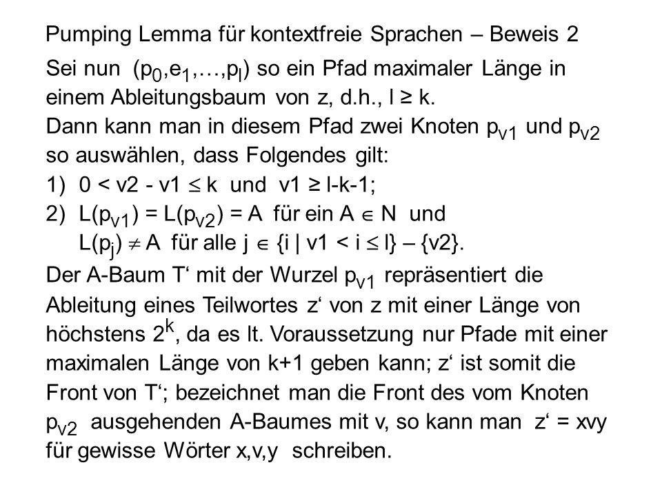 Pumping Lemma für kontextfreie Sprachen – Beweis 2