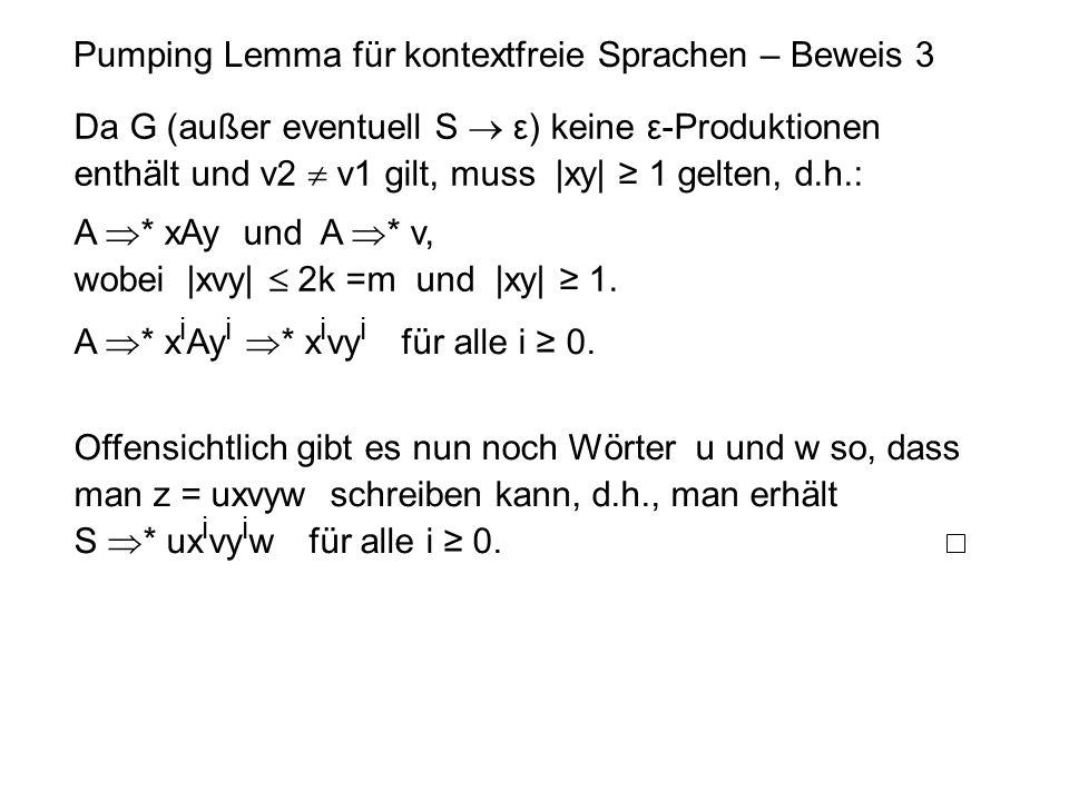 Pumping Lemma für kontextfreie Sprachen – Beweis 3