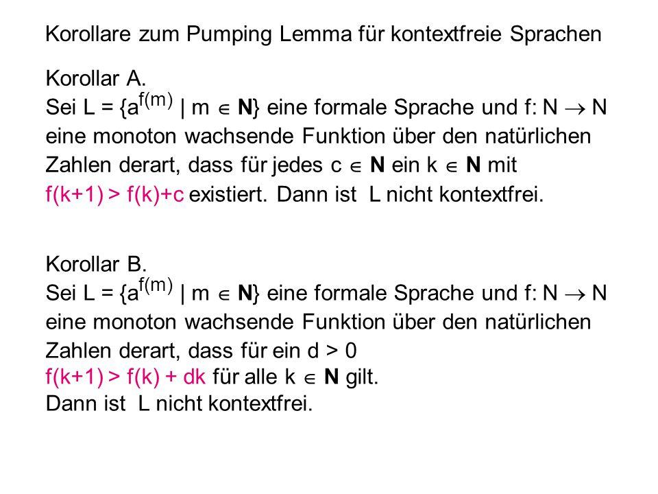 Korollare zum Pumping Lemma für kontextfreie Sprachen