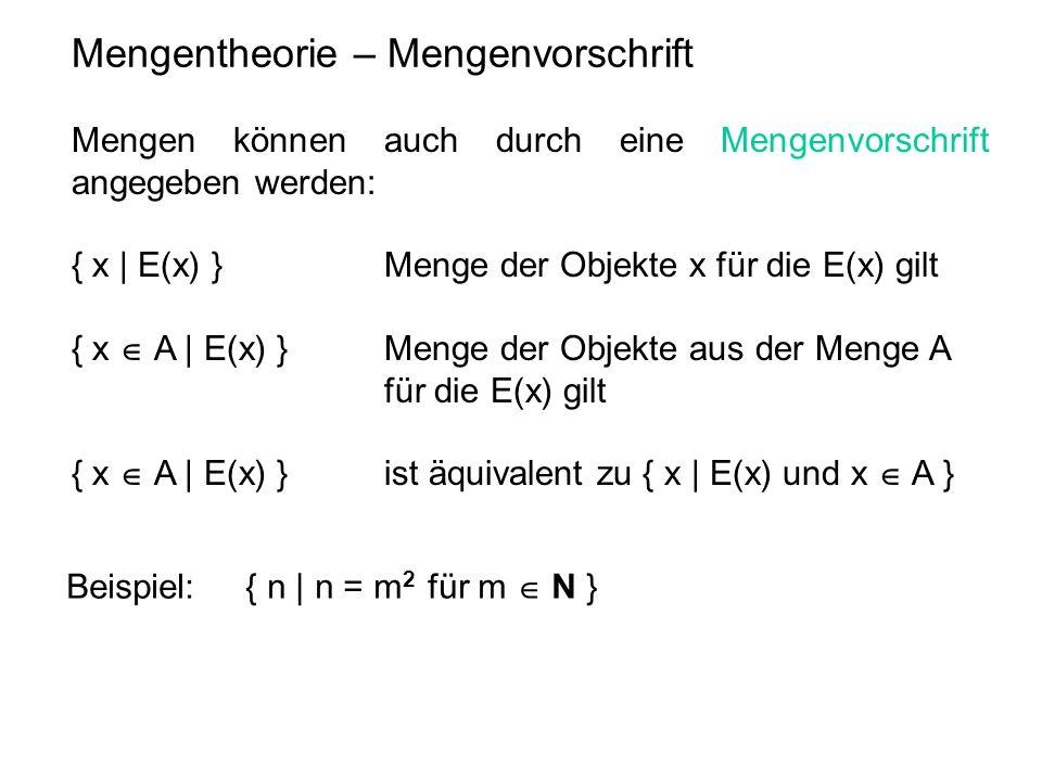 Mengentheorie – Mengenvorschrift
