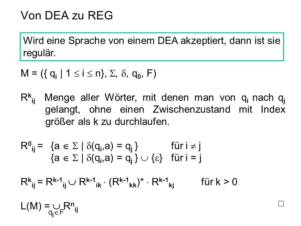 Von DEA zu REG Wird eine Sprache von einem DEA akzeptiert, dann ist sie regulär. M = ({ qi | 1  i  n}, , , q0, F)