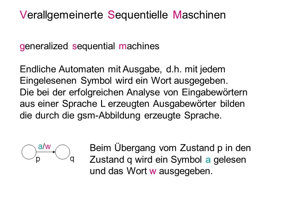 Verallgemeinerte Sequentielle Maschinen