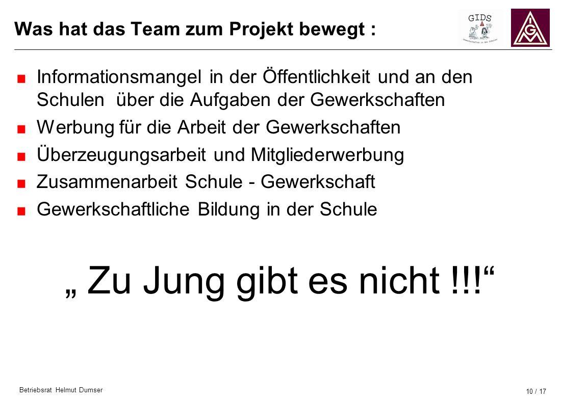 Was hat das Team zum Projekt bewegt :