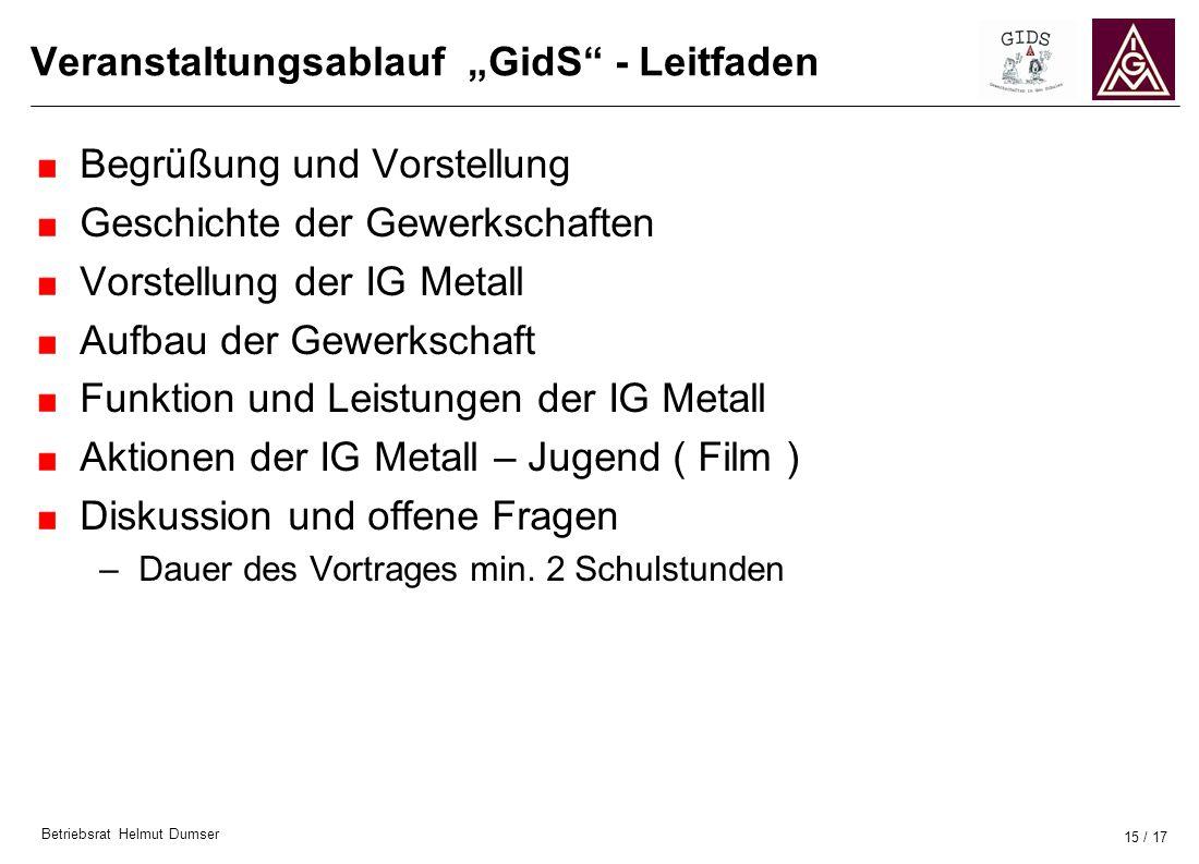 """Veranstaltungsablauf """"GidS - Leitfaden"""