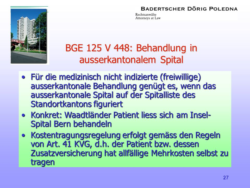 BGE 125 V 448: Behandlung in ausserkantonalem Spital