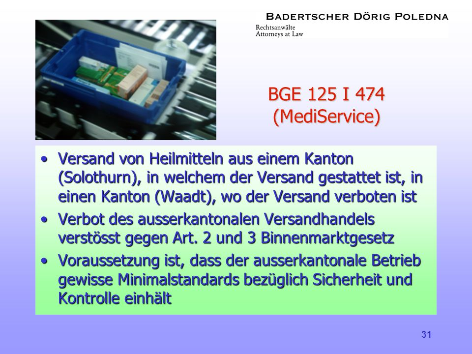 BGE 125 I 474 (MediService)