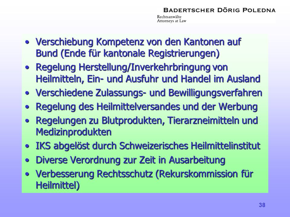 Verschiebung Kompetenz von den Kantonen auf Bund (Ende für kantonale Registrierungen)