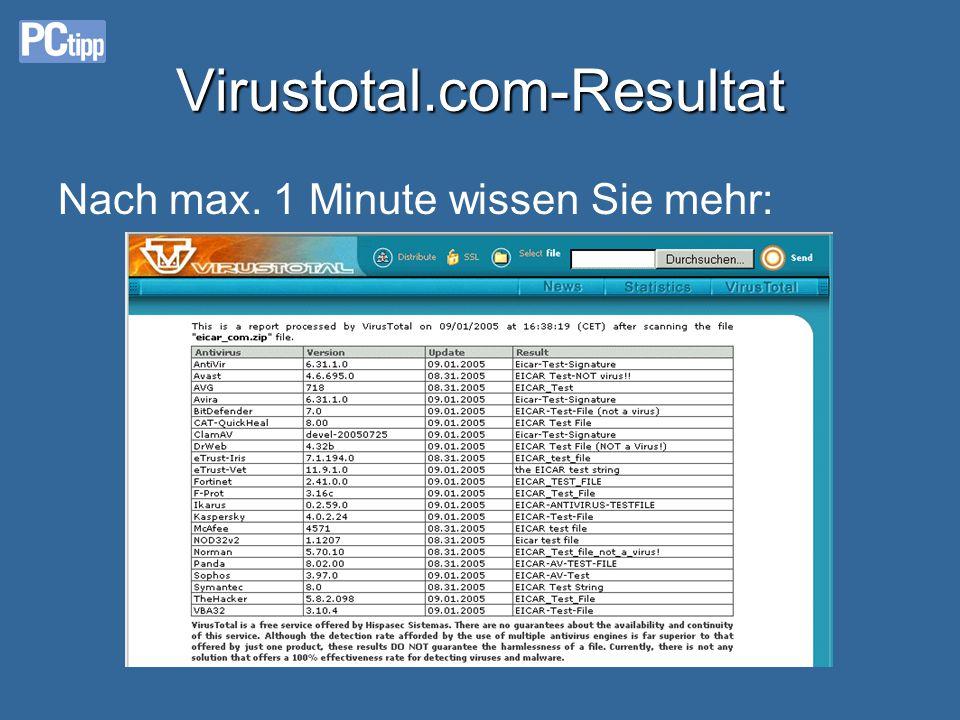 Virustotal.com-Resultat