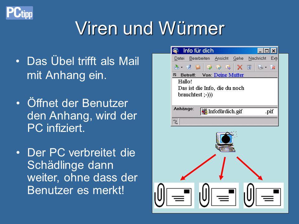Viren und Würmer Das Übel trifft als Mail mit Anhang ein.