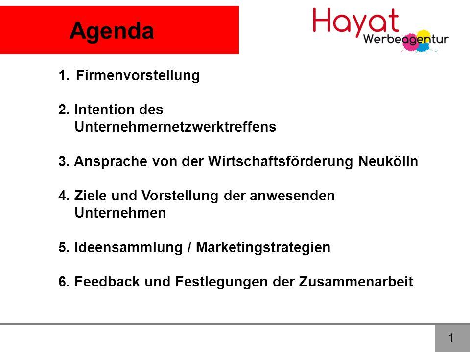 Agenda Firmenvorstellung 2. Intention des Unternehmernetzwerktreffens
