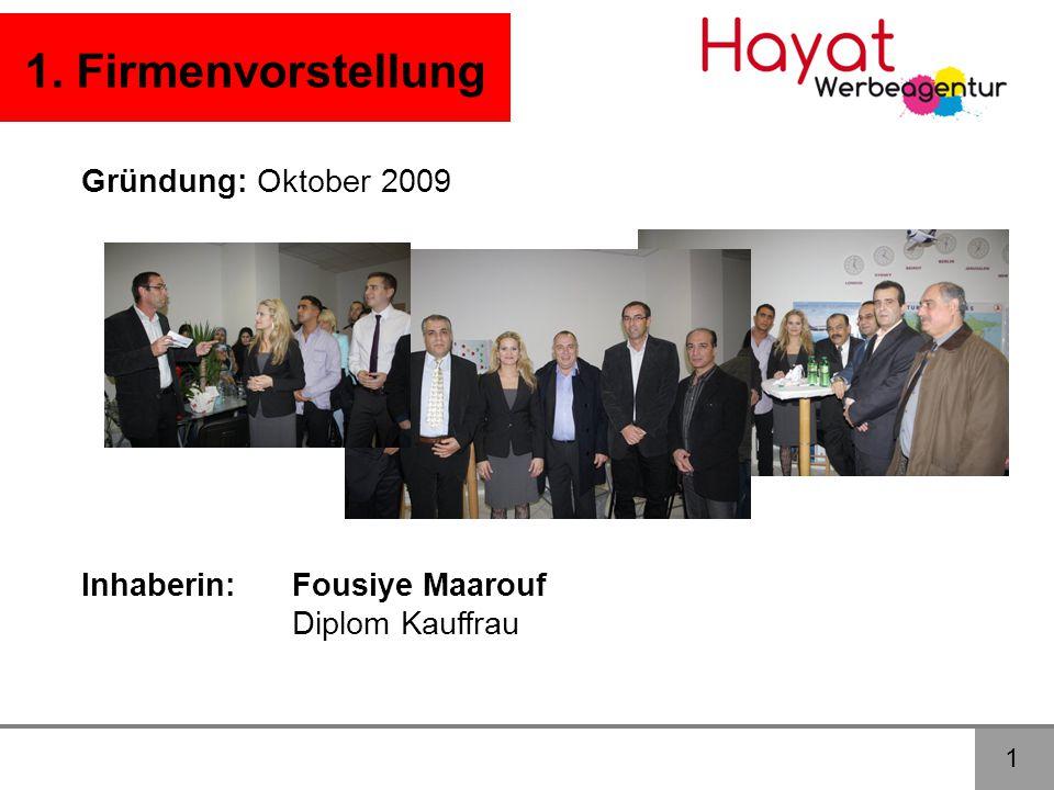 1. Firmenvorstellung Gründung: Oktober 2009 Inhaberin: Fousiye Maarouf