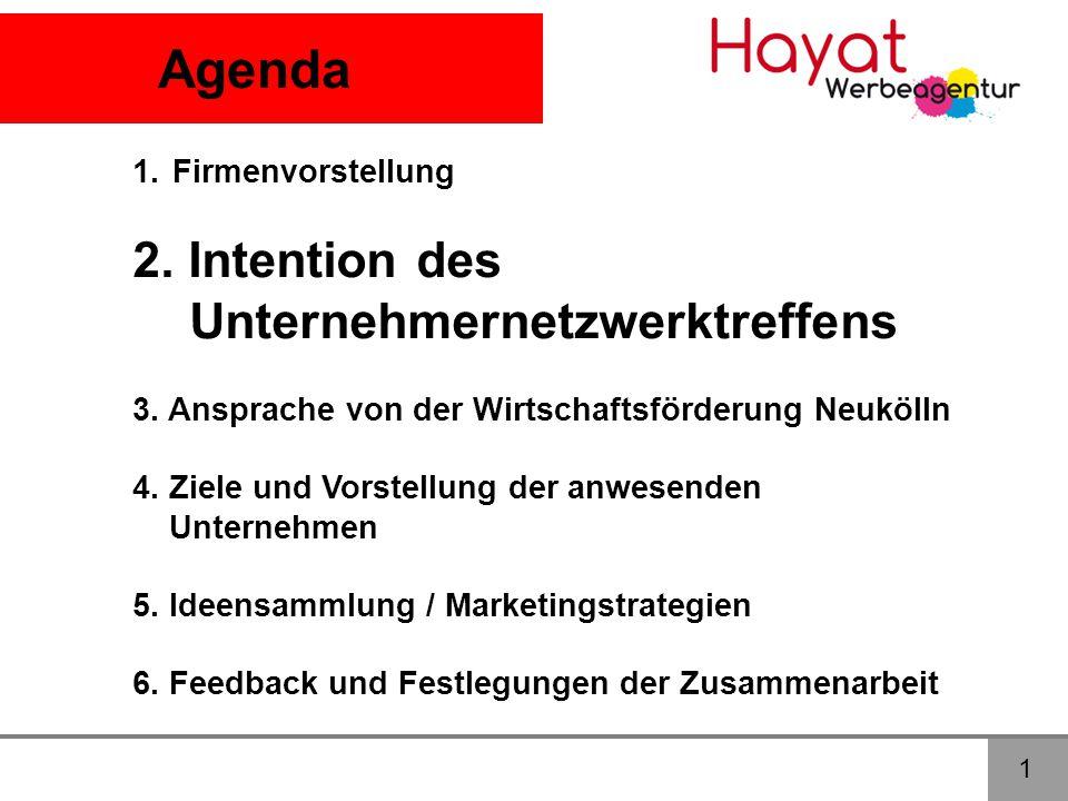Agenda 2. Intention des Unternehmernetzwerktreffens Firmenvorstellung