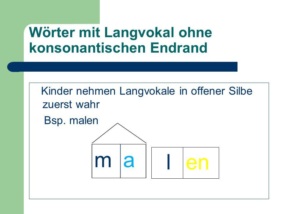 Wörter mit Langvokal ohne konsonantischen Endrand
