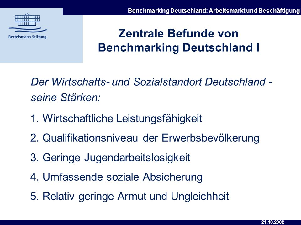 Zentrale Befunde von Benchmarking Deutschland I