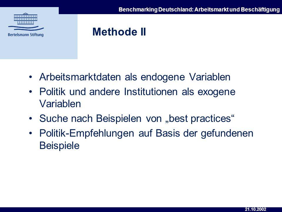 Methode II Arbeitsmarktdaten als endogene Variablen