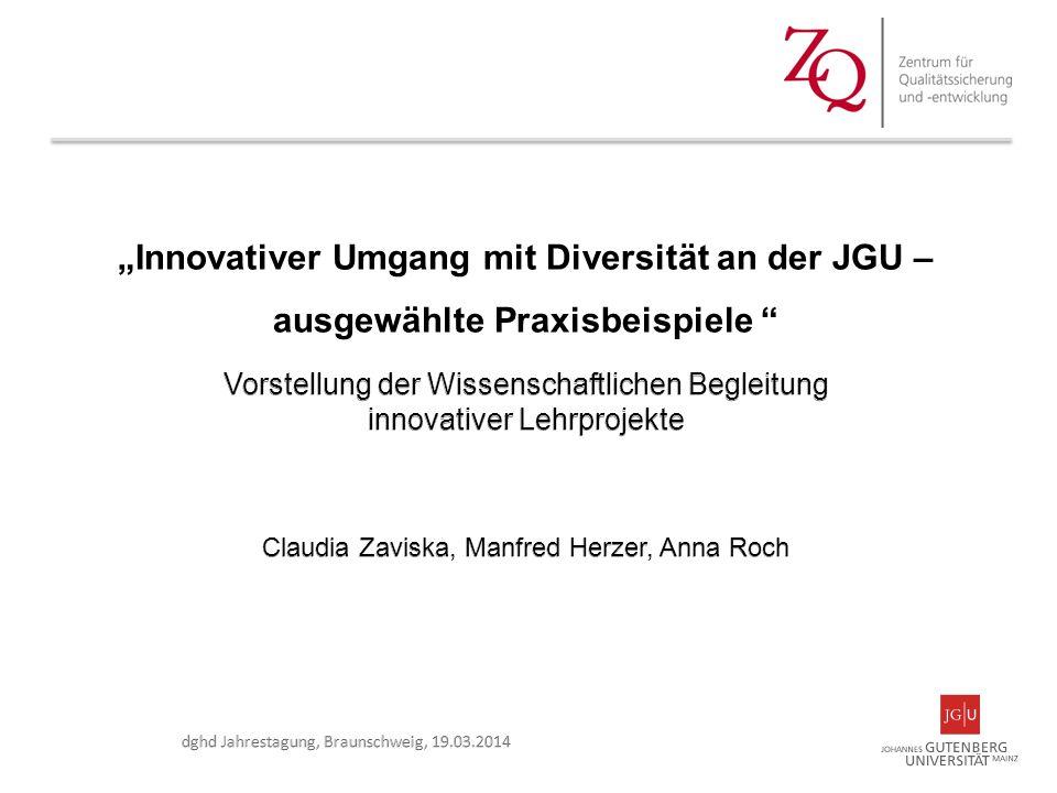 """""""Innovativer Umgang mit Diversität an der JGU – ausgewählte Praxisbeispiele"""