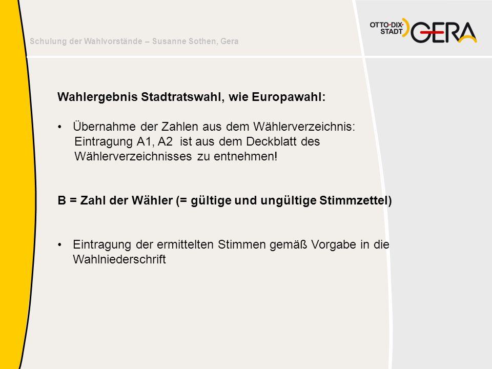 Wahlergebnis Stadtratswahl, wie Europawahl: