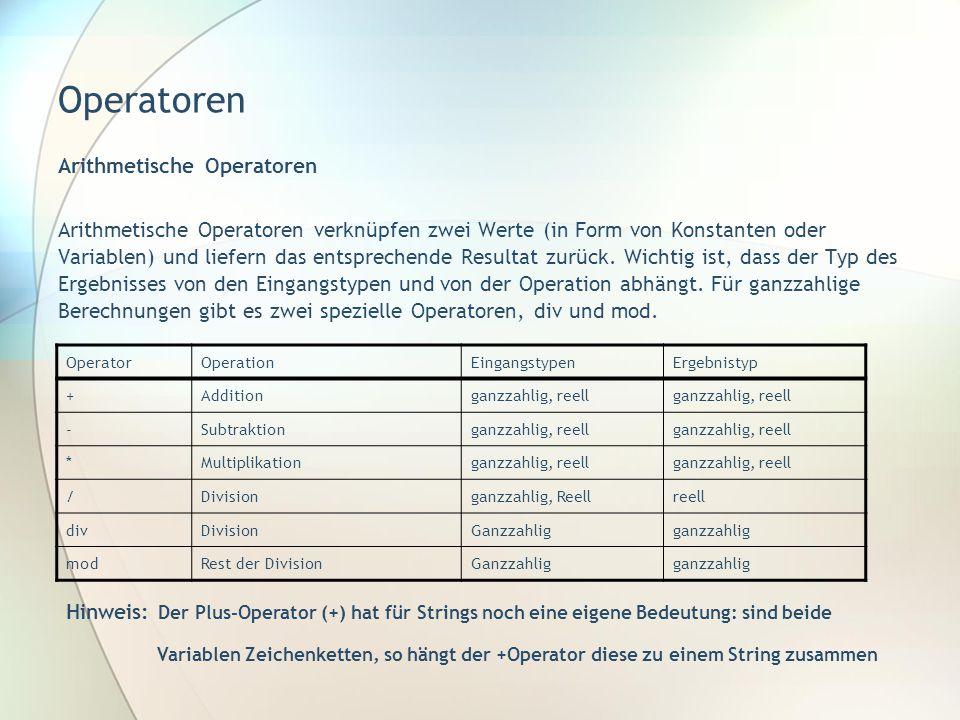 Operatoren Arithmetische Operatoren