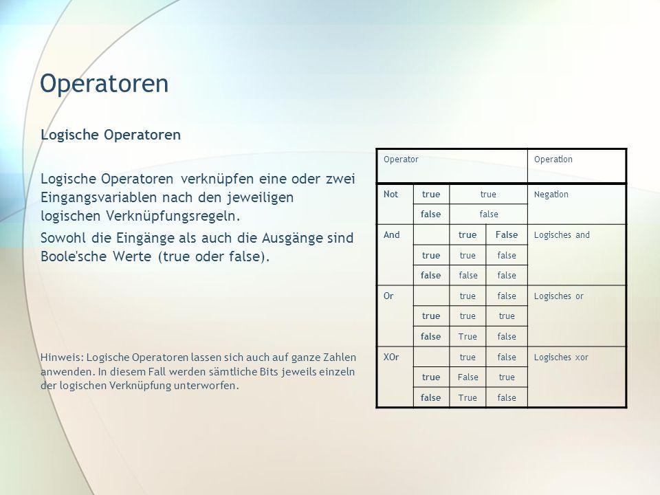 Operatoren Logische Operatoren