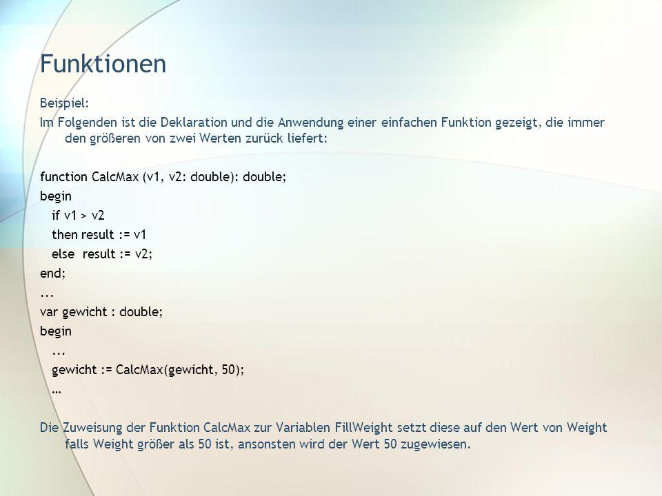 Funktionen Beispiel: