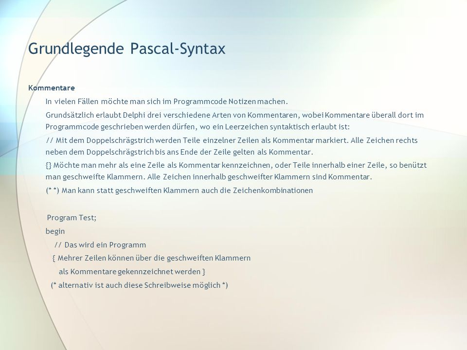 Grundlegende Pascal-Syntax
