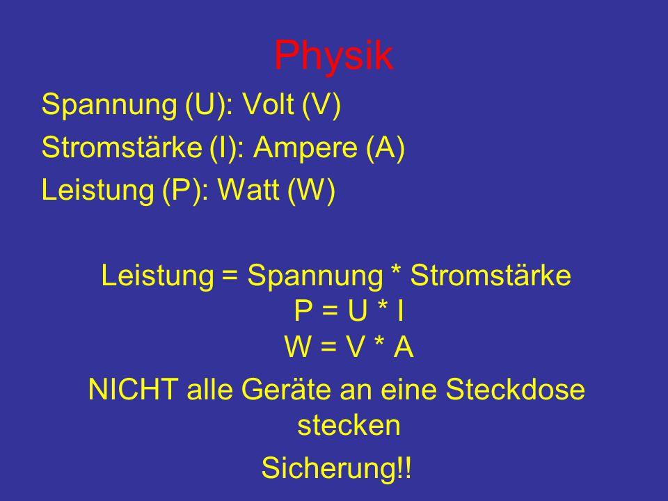 Physik Spannung (U): Volt (V) Stromstärke (I): Ampere (A)