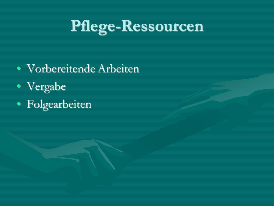 Pflege-Ressourcen Vorbereitende Arbeiten Vergabe Folgearbeiten