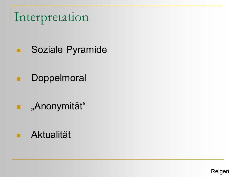 "Interpretation Soziale Pyramide Doppelmoral ""Anonymität Aktualität"