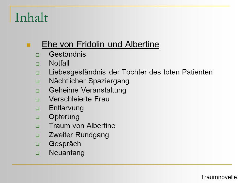 Inhalt Ehe von Fridolin und Albertine Geständnis Notfall