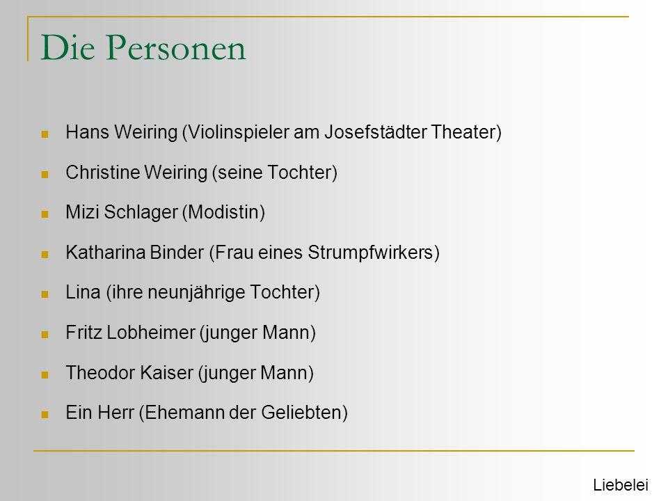 Die Personen Hans Weiring (Violinspieler am Josefstädter Theater)