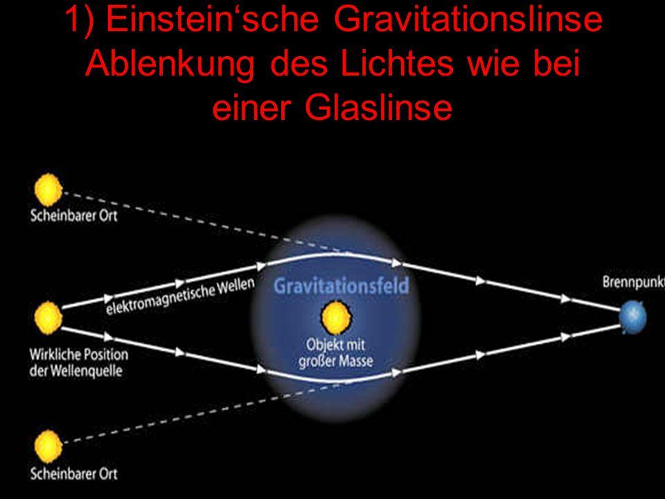 1) Einstein'sche Gravitationslinse Ablenkung des Lichtes wie bei einer Glaslinse