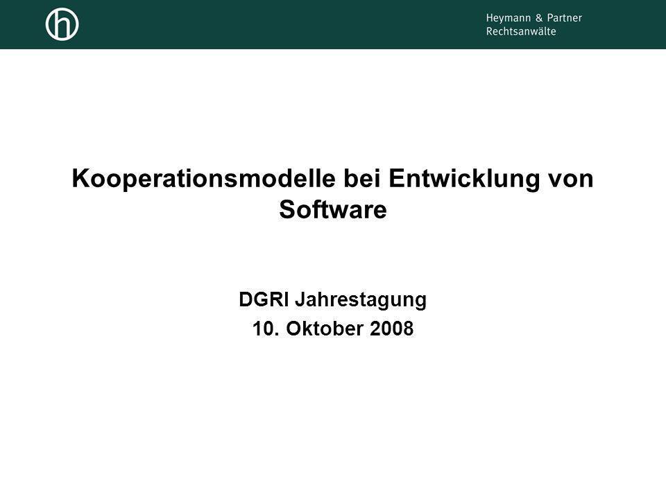 Kooperationsmodelle bei Entwicklung von Software