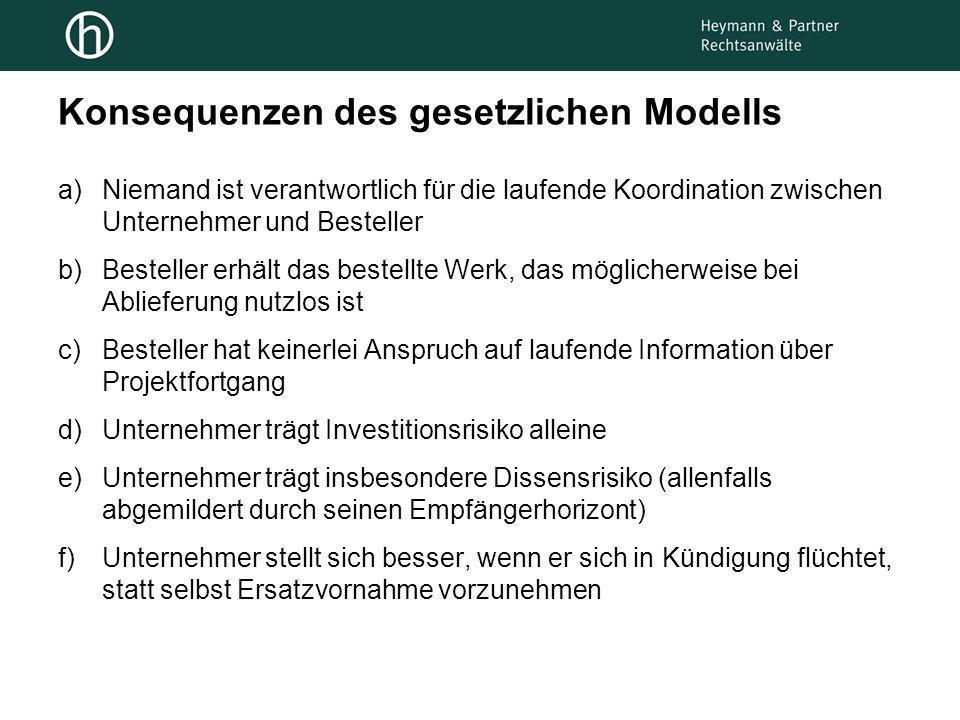 Konsequenzen des gesetzlichen Modells