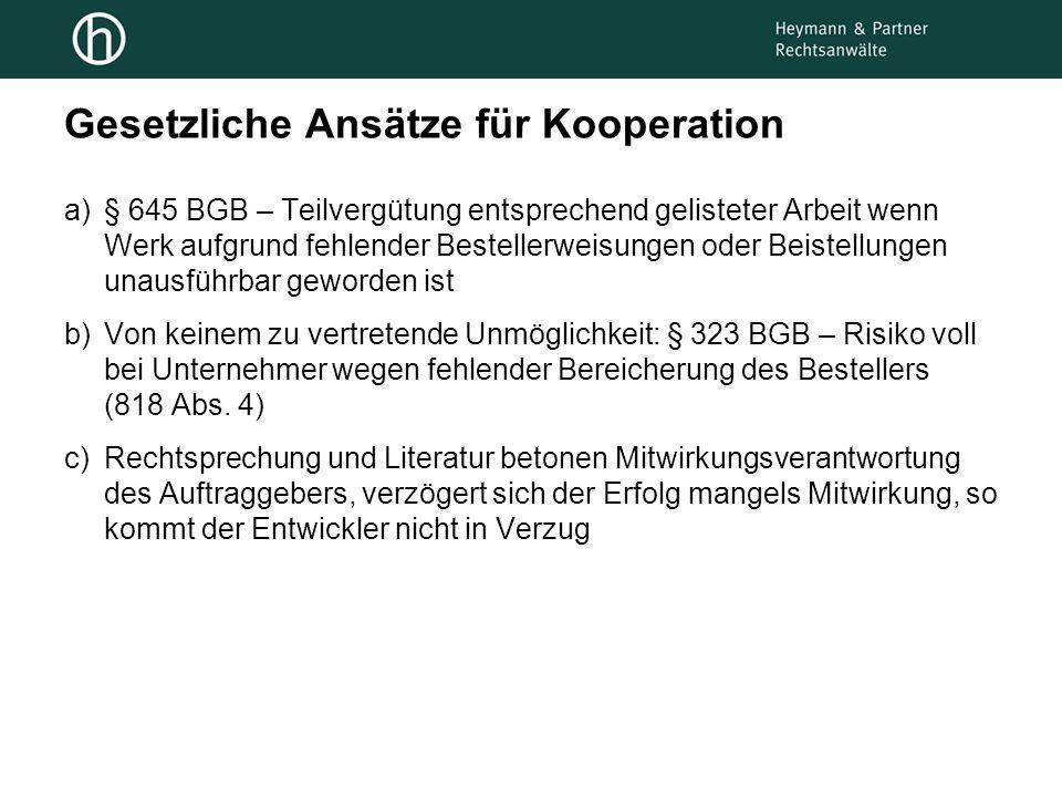 Gesetzliche Ansätze für Kooperation
