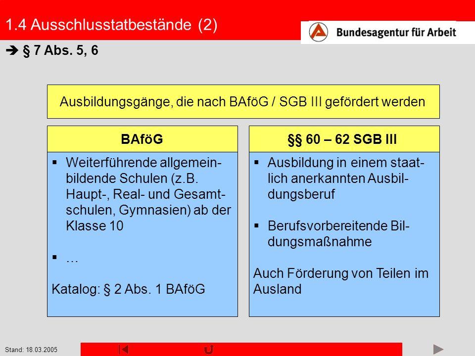 Ausbildungsgänge, die nach BAföG / SGB III gefördert werden
