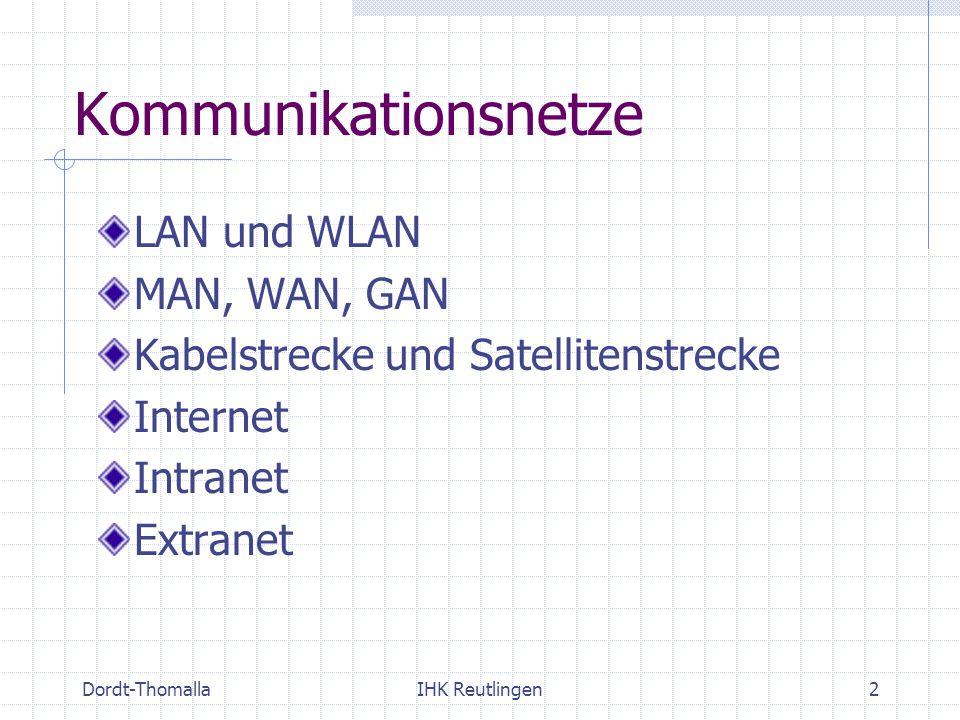 Kommunikationsnetze LAN und WLAN MAN, WAN, GAN
