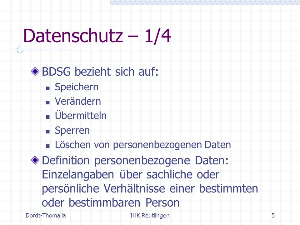 Datenschutz – 1/4 BDSG bezieht sich auf: