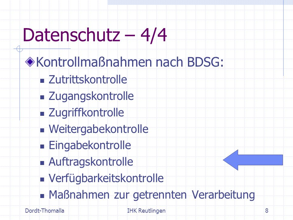 Datenschutz – 4/4 Kontrollmaßnahmen nach BDSG: Zutrittskontrolle
