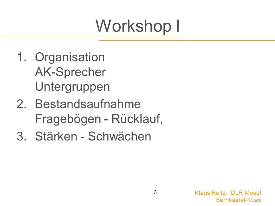 Workshop I Organisation AK-Sprecher Untergruppen