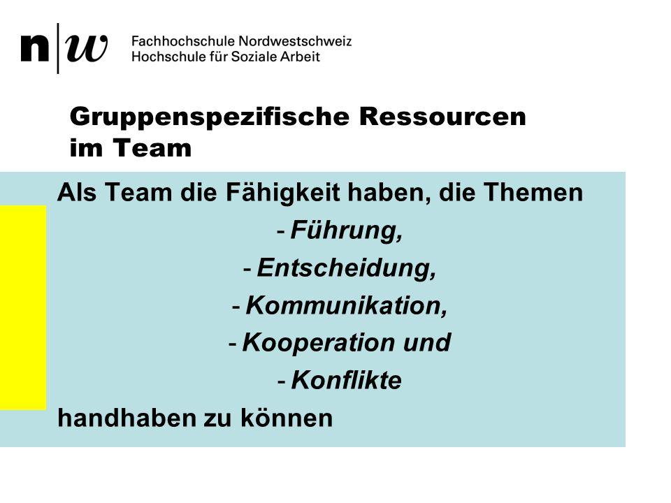 Gruppenspezifische Ressourcen im Team