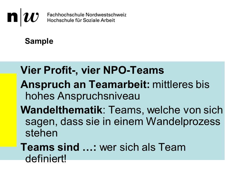 Vier Profit-, vier NPO-Teams