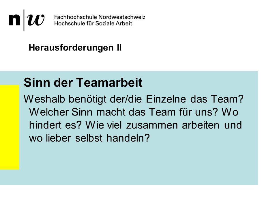Herausforderungen II Sinn der Teamarbeit.