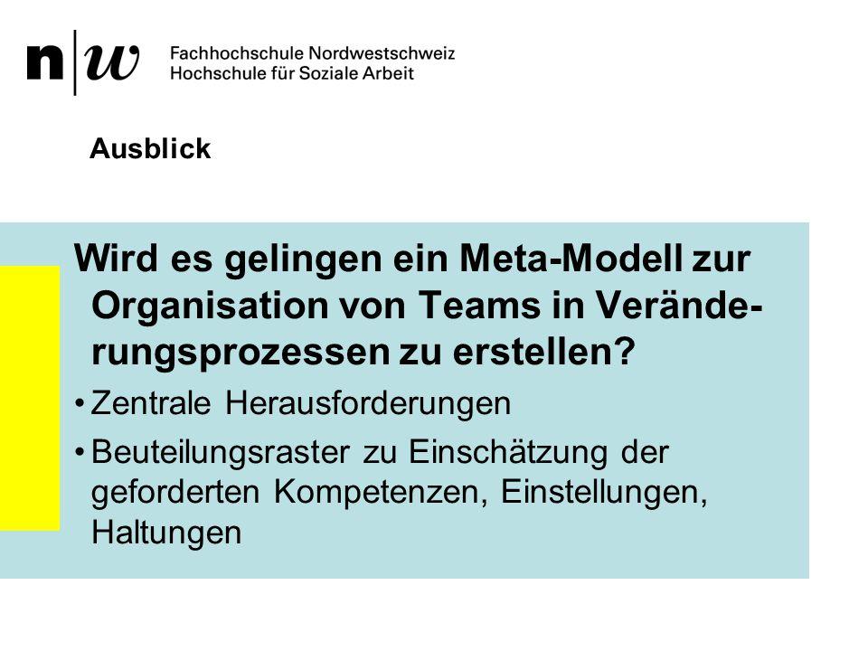Ausblick Wird es gelingen ein Meta-Modell zur Organisation von Teams in Verände-rungsprozessen zu erstellen