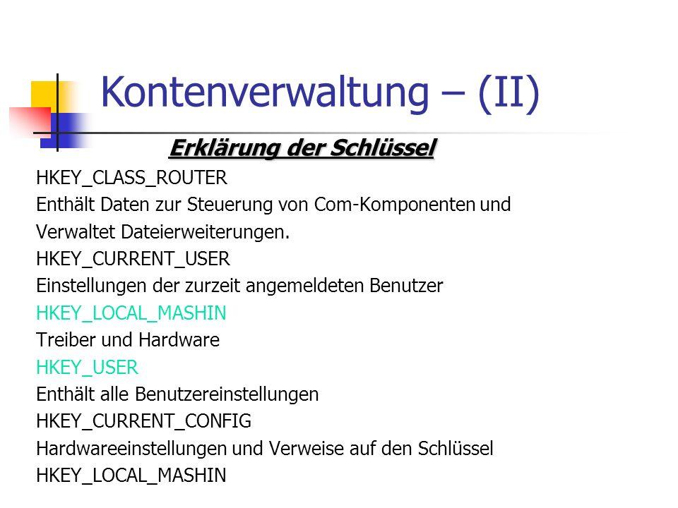 Kontenverwaltung – (II)