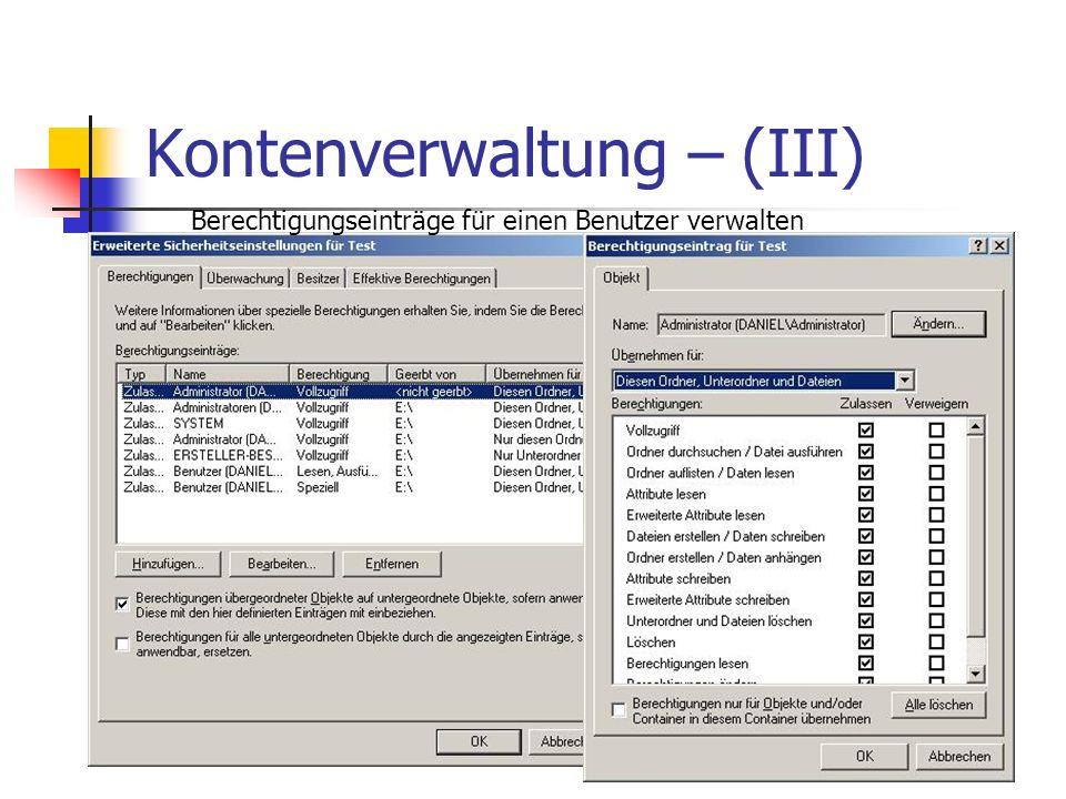 Kontenverwaltung – (III)