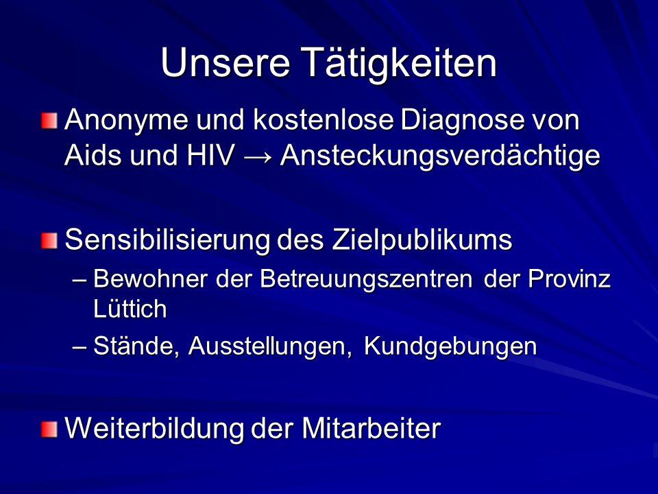 Unsere Tätigkeiten Anonyme und kostenlose Diagnose von Aids und HIV → Ansteckungsverdächtige. Sensibilisierung des Zielpublikums.