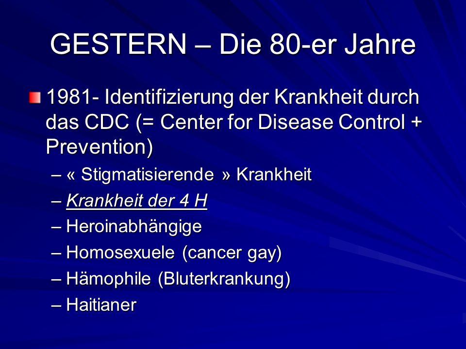 GESTERN – Die 80-er Jahre 1981- Identifizierung der Krankheit durch das CDC (= Center for Disease Control + Prevention)